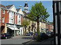 SN9584 : Great Oak Street and the town hall, Llanidloes by Andrew Hill