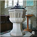 SU0268 : Font, Church of St Mary, Calstone Wellington by Brian Robert Marshall