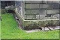 SE1321 : OS Bench mark on St Matthew's Church, Rastrick by Richard Kay