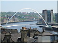 NZ2563 : The Millennium Bridge and rooftops north of Quayside, NE1 by Mike Quinn