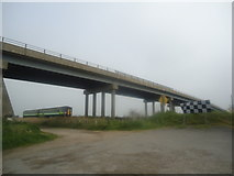 TM4599 : Bridge over railway line, Haddiscoe by Stacey Harris