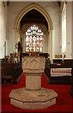 TL9568 : St George, Stowlangtoft - Font by John Salmon