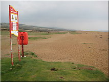 SY5088 : Beach safety on Cogden Beach by Philip Halling