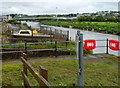 SN4019 : Lifebuoys alongside a River Towy slipway, Carmarthen by Jaggery