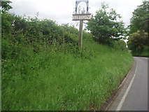 TM3669 : A1120 Yoxford Road  out of Sibton and Village Sign by Bikeboy