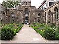 TQ3281 : Christchurch Greyfriars Rose Garden by David Hawgood