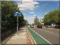 TQ4178 : New cycle lane on Woolwich Road by Stephen Craven