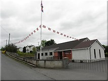 H4174 : Flags and buntings, Gillygooley Orange Hall by Kenneth  Allen
