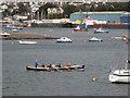 SX9372 : Ladies team training in 'Teign Spirit', Teignmouth harbour by Robin Stott