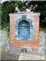 TQ5465 : Glazed brick water fountain, Bower Lane, Eynsford by PAUL FARMER