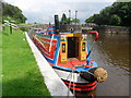 SJ5876 : Working Narrow Boat Hadar moored below Dutton Locks. by Keith Lodge