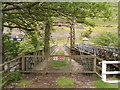 SN9364 : No entry to a disused suspension bridge in the Elan Valley by Jaggery