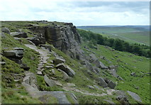 SK2384 : Hillside path, Stanage Edge by Andrew Hill