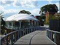 TL6161 : The July Course, Newmarket - High level walkway between restaurants by Richard Humphrey