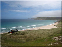 SW3526 : Looking across the dunes towards the north end of Sennen beach by Rod Allday