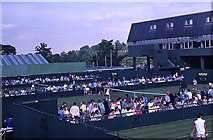 TQ2472 : Wimbledon 1988 - Looking towards Courts 16 and 17 by Barry Shimmon