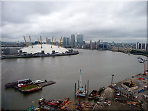 TQ3980 : O2 Centre from Cable Car across The Thames by Christine Matthews