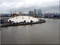 TQ3980 : O2 Centre and Canary Wharf from Cable Car across The Thames by Christine Matthews