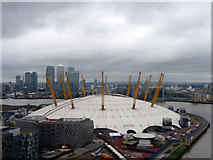 TQ3980 : O2 Centre from the Cable Car over River Thames by Christine Matthews