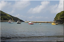 SW9980 : Boats in the harbour, Port Isaac by Bill Harrison