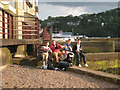 SX9372 : Saturday afternoon visitors to Teignmouth's back beach by Robin Stott
