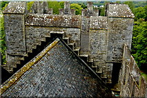 R4560 : Bunratty Castle - View from Top of Southeast Tower - Castle Roof by Joseph Mischyshyn
