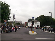 TQ7568 : Closed Chatham Bus Station and crowds by David Anstiss