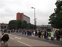 TQ7568 : Closed Chatham Bus Station and crowds, Dock Road by David Anstiss