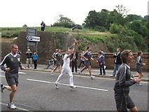 TQ7568 : Olympic Torch Runner, Dock Road, Chatham by David Anstiss