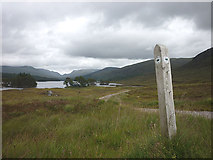NN3666 : Footpath marker at track junction near the head of Loch Ossian by Karl and Ali