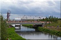 TQ3785 : Olympic Park: view between bridges by David Martin