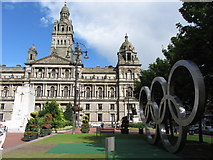 NS5965 : Glasgow's Olympic Rings in George Square by Gareth James