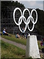 TQ1751 : Oympic Rings and Trig Point by Colin Smith