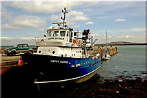 "M2208 : The Burren - Ballyvaghan - Harbour Pier - Boat "" Happy Hooker"" by Joseph Mischyshyn"