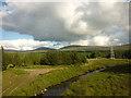 NN4150 : The Abhainn Duibhe and a power pylon by Karl and Ali