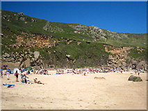 SW3821 : Beach scene at Porthchapel by Rod Allday