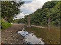 SD7606 : River Irwell, Bridge Remains at Ladyshore by David Dixon