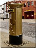 SD7109 : Jason Kenny's Gold Postbox on Churchgate by David Dixon