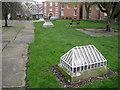 SJ8990 : Floodlight housings, St Mary's churchyard by Robin Stott