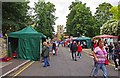 SO9445 : Pershore Plum Fayre Day 2012 (6) - stalls in Church Walk, Pershore by P L Chadwick