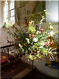 TR0149 : Display at the flower festival in the church of St Cosmas and St Damian, Challock by Marathon