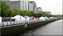 O1634 : Tall Ships Festival Stalls on City Quay viewed from the O'Casey Bridge by Eric Jones