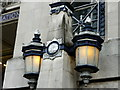 TQ3180 : Lamps near entrance to Waterloo Station, London SE1 by Christine Matthews