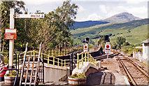NN3825 : View north from Crianlarich station, 1986 by Ben Brooksbank