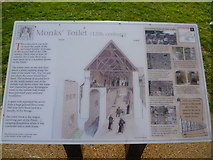 TQ4109 : Information board about the 12th century monks' toilet, Lewes Priory by Marathon