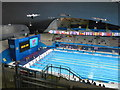 TQ3884 : Olympics Aquatics Centre, turn end, big screen and flags by David Hawgood