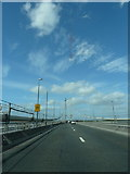 NT1279 : Approaching The Forth Road Bridge's north tower from the south on the A90 by Alexander P Kapp