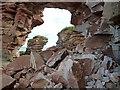 NT7673 : A rockfall at a natural arch near Bilsdean by Walter Baxter