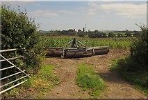 SJ8931 : Roller and maize field, Pire Hill by Derek Harper