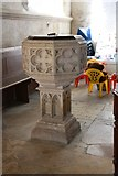 TL3852 : Assumption of the Blessed Virgin Mary, Harlton - Font by John Salmon